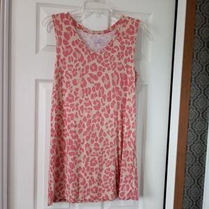 LOGO Pink Animal Print V Neck Knit Tank - Medium